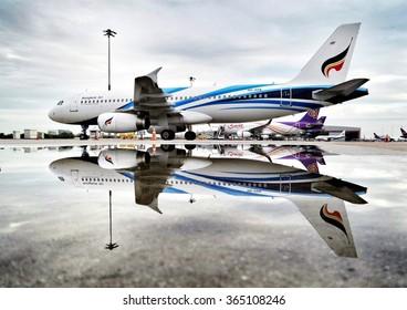 Bangkok Thailand October 15-2014:Bangkok Airways parking before departure after heavy rain at Suvanabhumi Airport.