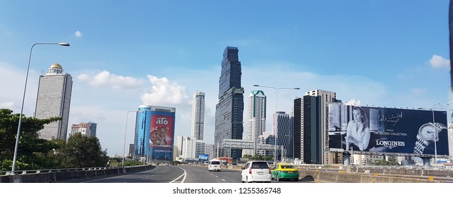 Bangkok, Thailand - October 16, 2018 :View of Bangkok city during sunny day and blue sky.Bangkok, Thailand's capital, is a large city known for ornate shrines and vibrant street life.