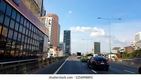 Bangkok, Thailand - October 16, 2018:View of Bangkok city road with blue sky.