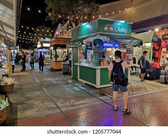 BANGKOK, THAILAND -​ OCTOBER 16,2018:People are traveling and shopping at Asiatique The Riverfront in Bangkok. Asiatique combined two of the most popular shopping experiences a night bazaar and a mall