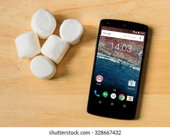 BANGKOK, THAILAND - OCTOBER 17, 2015: Google starts release Android version 6.0 Marshmallow to Nexus device