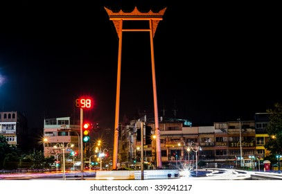 Bangkok Thailand October 18, 2015  : The Giant Swing at night on October 18, 2015. The Giant Swing is a religious structure and tourist attraction in Bangkok, Thailand.
