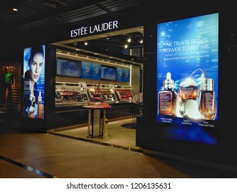 Bangkok, Thailand - October 18, 2018 : Estée Lauder store at Siam Center Fashion Mall. Estée Lauder is a multinational manufacturer and marketer of prestige skincare, makeup and fragrance.
