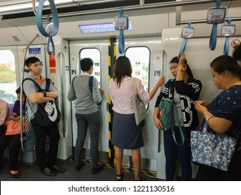 Bangkok, Thailand - October 18, 2018: People passenger at MRT Purple Line Tao Poon station. Many people in Bangkok use skytrain to save time. lifestyle of people in Bangkok, Thailand.