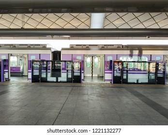 Bangkok, Thailand - October 18, 2018: MRT Purple Line Tao Poon station. Many people in Bangkok use skytrain to save time. lifestyle of people in Bangkok, Thailand.