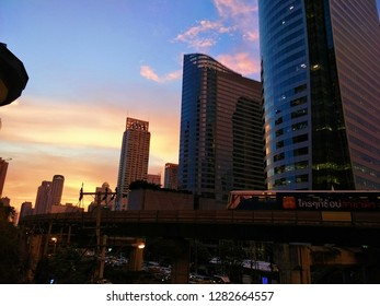 Bangkok, Thailand – October 18, 2018 : Building office on Sathorn road In Thailand, Bangkok City Tower, Bank of China (Thai) Public,Central Business district,CBD of Bangkok on Sathorn road.