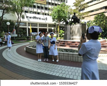 Bangkok, Thailand - October 18 2019:Family and friends came to congratulate the nursing student who graduated.
