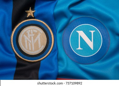 BANGKOK, THAILAND -OCTOBER 18: The Logo of Napoli and Inter Milan football club on an official jersey on October 18,2017.