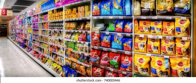 BANGKOK, THAILAND - OCTOBER 18: Shelves in aisle 5 in Foodland supermarket in Victoria Garden fully stocks pet food in Bangkok on October 18, 2017.