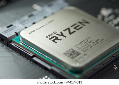 Bangkok, Thailand - October 19, 2017: Close-up of AMD Ryzen 5 1600 CPU on motherboard. It is a high-performance microprocessor introduced by AMD in 2017.