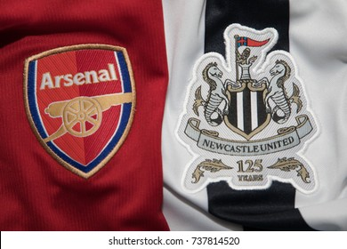 BANGKOK, THAILAND -OCTOBER 19: The Logos of Arsenal  and Newcastle United football club on an official jersey on October 19,2017