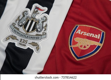 BANGKOK, THAILAND -OCTOBER 19: The Logos of Newcastle United and Arsenal on an official jersey on October 19,2017