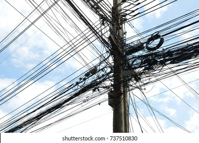 BANGKOK, THAILAND - OCTOBER 19,2017:Some of utility system problems in thailand is in the process of improving safety and beautiful scenery for smart metropolitan project.