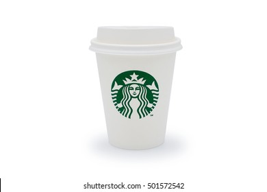 Bangkok, Thailand - OCTOBER 20, 2016 : A cup of Starbucks hot beverage coffee on white background. Starbucks is the world's largest coffeehouse company