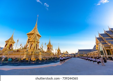 Bangkok, Thailand - October 20, 2017 :The Royal Crematorium for HM King Bhumibol Adulyadej at Sanam Luang prepared to be used as The royal funeral at October 26, 2017