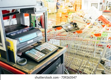 BANGKOK, THAILAND - OCTOBER 20, 2017: Cash register and shopping carts are ready to be used for customers in a wholesale super store.
