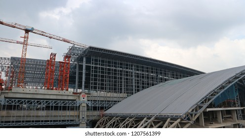 BANGKOK, THAILAND - OCTOBER 20, 2018: Large metallic structure under construction on the site of Bangsue Grand Station on October 20, 2018 in Bangkok, Thailand.