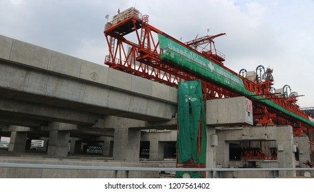 BANGKOK, THAILAND - OCTOBER 20, 2018: Segmental construction of bridges on the site of Bangsue Grand Station on October 20, 2018 in Bangkok, Thailand.