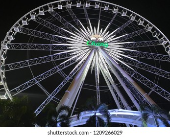 BANGKOK, THAILAND -​ OCTOBER 20, 2018 : Ferris wheel at Asiatique The Riverfront in Bangkok. Asiatique combined two of the most popular shopping experiences a night bazaar and a mall.