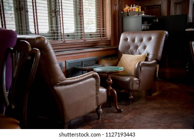 """BANGKOK, THAILAND - OCTOBER 2017 : at the Phayathai Palace in """"Nor ra singha cafe"""" furniture in luxury cafe in vintage style is decoration in old way."""