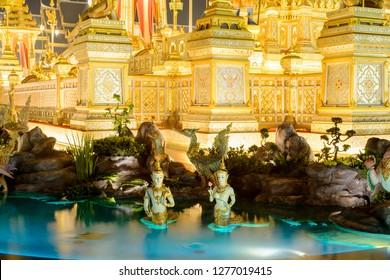Bangkok, Thailand - October 2017: Sculpture of Kinnara and Kinnari (partial of king Bhumibol crematorium)