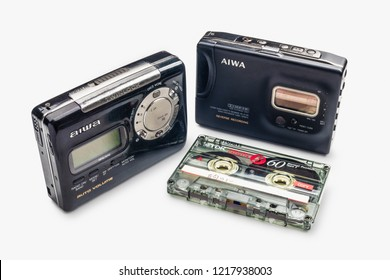 BANGKOK - THAILAND OCTOBER 2018 31 : Vintage walkman and cassete tape, Walkman is Portable Stereo Cassette Auto Reverse Tape Player and AM/FM Radio function on white background at studio in BANGKOK,