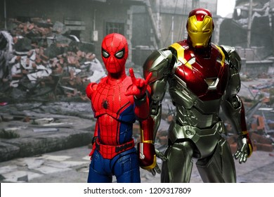 Bangkok, Thailand - October 21,2018: The setting of Iron Man and Spiderman, action figures display from famous Marvel comic.