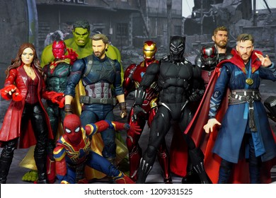 Bangkok, Thailand - October 21,2018: The setting of the Avenger's team, action figures display from famous Marvel comic.