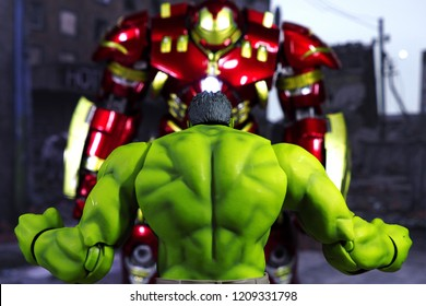 Bangkok, Thailand - October 21,2018: The setting of Hulk Buster and the Hulk, action figures display from famous Marvel comic.