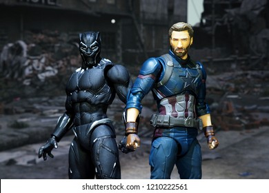 Bangkok, Thailand - October 21,2018: The setting of Black Panther and Captain America, action figures display from famous Marvel comic.