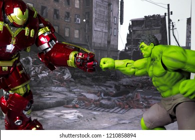Bangkok, Thailand - October 21,2018: The setting of Hulk Buster and Hulk, action figures display from famous Marvel comic.