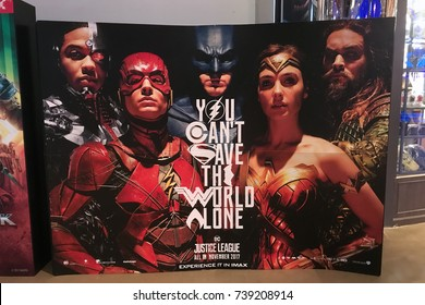 Bangkok, Thailand - October 22, 2017: Standee of The Movie Justice League displays at the theater