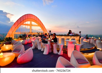BANGKOK - THAILAND OCTOBER 22, 2017 : Twilight view from CRU Champagne Bar at Centara Grand at Central World, overlooking a magnificent cityscape of Bangkok.