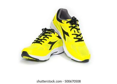BANGKOK, THAILAND - October 2,2016: Diadora new ultra boost sports shoes for running - illustrative editorial
