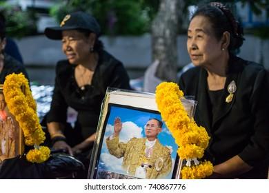 Bangkok, Thailand October, 23 2017 : cloud of people wating for the Royal funeral of King Phumiphon Adunyadet at Sanam Luang Bangkok, Thailand.