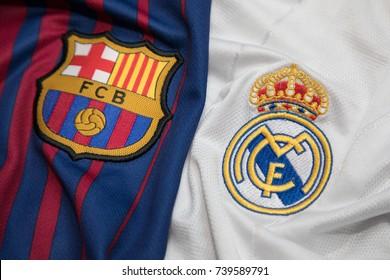 BANGKOK, THAILAND - OCTOBER 23: The Logo of Barcelona and Real M