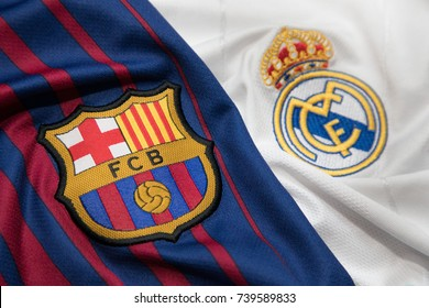 BANGKOK, THAILAND - OCTOBER 23: The Logo of Barcelona and Real Madrid on Football Jerseys on October 23 ,2017  in Bangkok Thailand.
