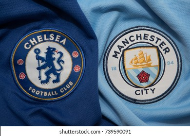 BANGKOK, THAILAND - OCTOBER 23: The Logo of Chelsea and Manchester City on Football Jerseys on October 23 ,2017  in Bangkok Thailand.