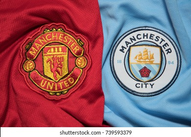 BANGKOK, THAILAND - OCTOBER 23: The Logo of  Manchester United a