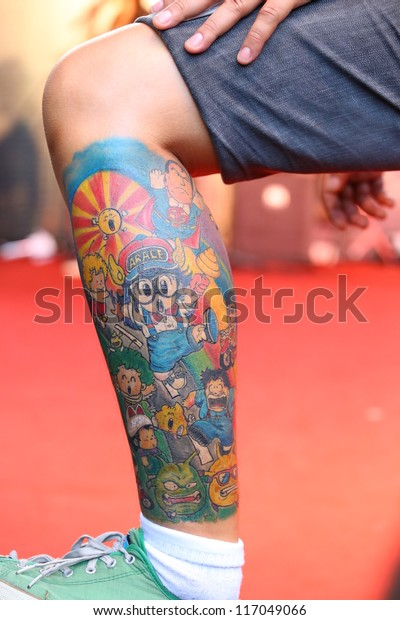 """BANGKOK, THAILAND - OCTOBER 23: Unidentified contestant's tattoo at MBK Center """"MBK TATTOO CONTEST 2012"""" on October 23, 2012 in Bangkok, Thailand"""