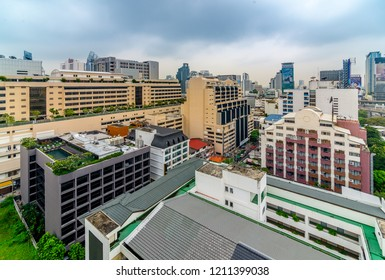 Bangkok, Thailand - October 24, 2018 : City scape and traffic ,nana town ,accommodations, office building, condominiums hospital and hotels in business area around sukhumvit road soi 1in afternoon.