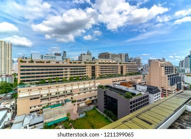 Bangkok, Thailand - October 24, 2018 : City scape of bumrungrad international hospital ,nana town ,accommodations, office building, condominiums hospital and hotels in business area, sukhumvit soi1
