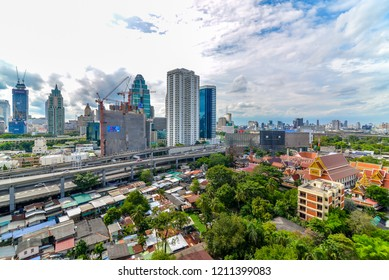 Bangkok, Thailand - October 24, 2018 : City scape and traffic of express way ,nana town ,accommodations, office building, condominiums hospital, hotels in business area sukhumvit rd, soi 1in afternoon
