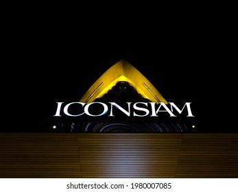BANGKOK, THAILAND -OCTOBER 24, 2019: The label logo of ICONSIAM grand mall at nighttime, most famous, luxurious and largest shopping complex centre in Asia, international landmark of Bangkok, Thailand
