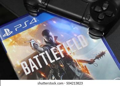 BANGKOK, THAILAND - OCTOBER 25, 2016: The New Battlefield 1 game on PS4 Console on October 25,2016. in Bangkok Thailand.