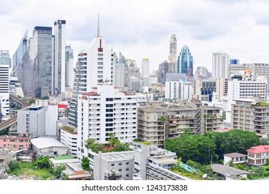Bangkok, Thailand - OCTOBER 25, 2018: View of Bangkok Skylines Sukhumvit District