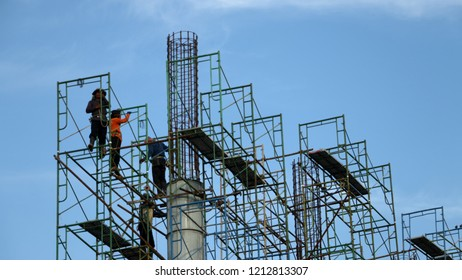 BANGKOK, THAILAND - October 25: Construction workers are building scaffolding, thailand