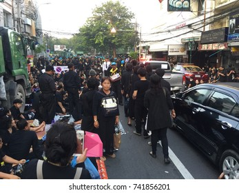 Bangkok, Thailand - October 26, 2017 : crowds gathering to pay respect to honor Late King Bhumibol of Thailand on his death first anniversary near Royal Cremation ground