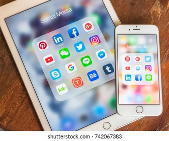 BANGKOK, THAILAND- October 26, 2017: Social media app multi-channel icons on Ipad, iphone touchscreen mobile cross-channel internet application technology for people lifestyle in digital 4.0 age.