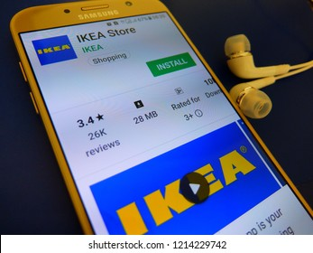 Bangkok, Thailand. October 26, 2018 - IKEA store application on smartphone screen. online shopping app of IKEA store.